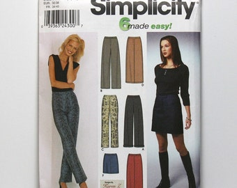 Uncut Sewing Pattern, Misses Pants and Skirts, Simplicity 9405, Bootcut and Wide Leg Pants, Skirt in Three Lengths