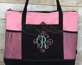 monogrammed embroidered extra large tote, zippered tote, water bottle bag, beach bag, personalized tote bag