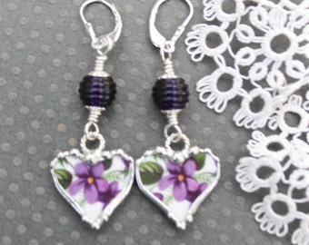 Earrings Broken China Jewelry, Broken China Earrings, Lampwork Beads, China Hearts, Purple Violets, Sterling Silver, Dangle Earrings