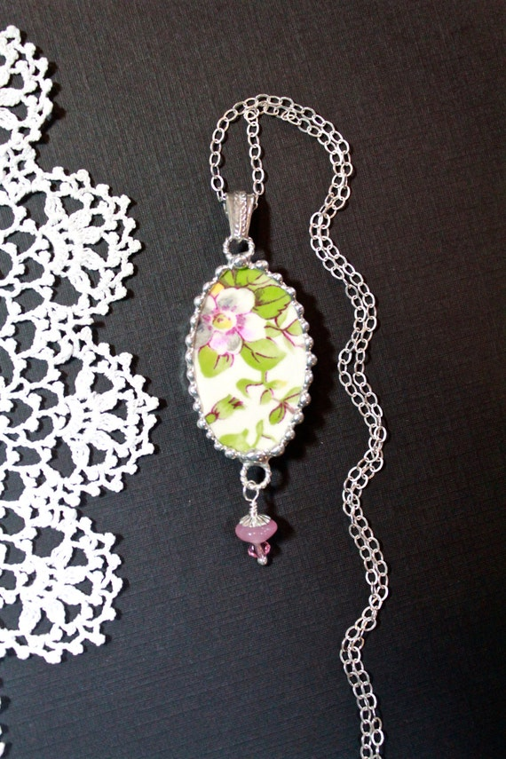 Necklace, Broken China Jewelry, Broken China Necklace, Pink Floral China, Sterling Silver Chain, Soldered Jewelry