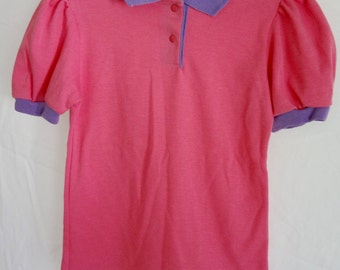 Vintage 80s Top Girl Polo Shirt Pink and Purple Cotton Size 10