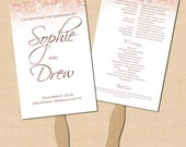 Rose Gold Sparkles Program Fan, Summer Wedding (5.5x8.5): Text-Editable in Microsoft® Word, Printable Instant Download