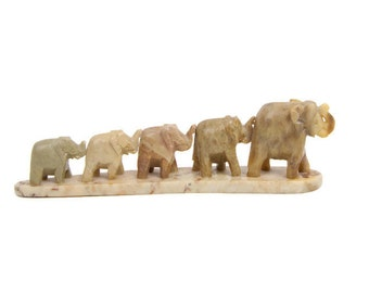 Vintage Hand Carved Soapstone Elephant Family Animal Figurine Green Marble Carving Made in India Elephant Herd Five Elephants