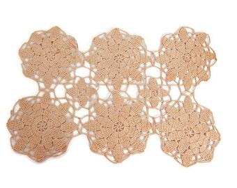 Vintage Ecru Crochet Doily Hand Crocheted Lace Floral Design Table Linen Rectangular Centerpiece