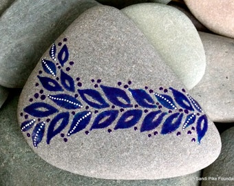 indigo leaves / painted stones / painted rocks / paperweights / rock art / art on stone / sea stones / beach art / beach decor / boho decor