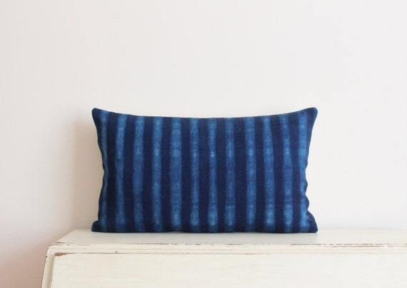 "SALE - Indigo Shibori pillow cushion cover 12"" x 20"""