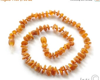 15% OFF THRU OCT Raw Unpolished Baby Amber Teething Necklace, Cognac Color Baltic Amber,  14 inch Child Necklace