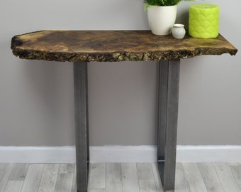 Walnut Slab Console, Natural Live Edge English Walnut Hall or Side Table on steel legs