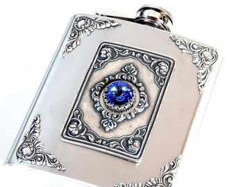 Victorian Hip Flask Vintage Style Flask Sapphire  Swarovski Flask for Women Gothic Flask Stainless Steel Hip Flask - 6 oz