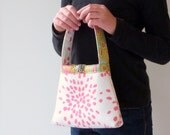 Little Girl Purse, Toddler Tote, Handprinted Bright Pink Fireworks Fabric