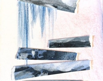Geometric abstract art mixed media collage watercolor gouache blue gray