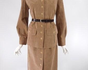 70s Mollie Parnis Ultrasuede Skirt Suit - med, lg
