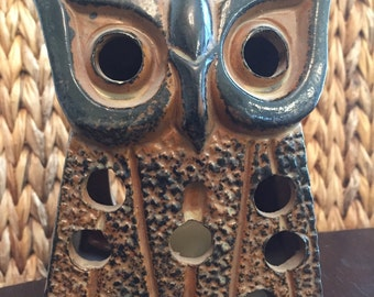 Vintage MID CENTURY Ceramic Pottery Owl Candle Holder