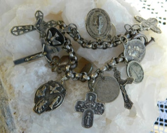 STERLING RELIGIOUS BRACELET vintage repurposed assemblage french jewelry handmade sacred catholic atelier paris on etsy