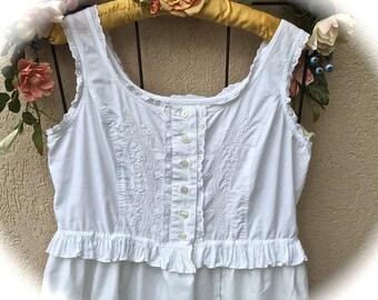 Sugar White Cami Ruffle Top Organic Babydoll Boho Ruffled Cotton Shirt Summer Soft Beachware