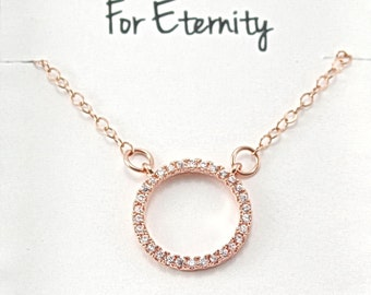 BFF for Eternity Rose Gold Circle Necklace, Friendship Forever Necklace, Best Friend, Soul Friends Gift Jewelry, Eternity Circle Ring M010