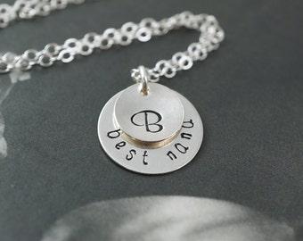 Best Nana necklace, grandma necklace, grandmother gift, initial necklace, best nana gift, christmas gift nana