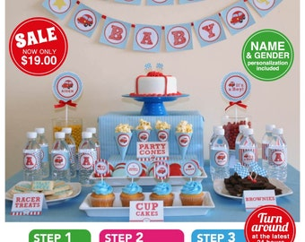 Vintage Red Racing Car Baby Shower Package Personalized FULL Collection Set - PRINTABLE DIY - BS807CA1x