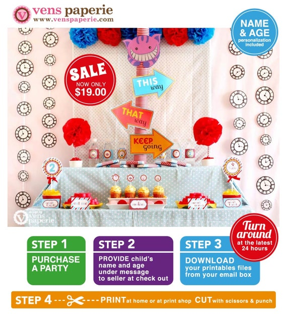 Alice in Wonderland Birthday Party Package Personalized FULL Collection Set - PRINTABLE DIY - PS806CA1x