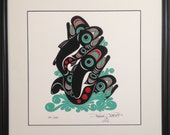"Salmon 16""X16"" Framed Print by Tlingit Artist Israel Shotridge - Northwest Native American"