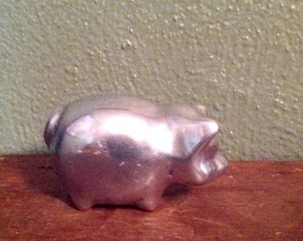 SALE 20.00 Vintage Hoselton aluminum pig sculpture signed Canada