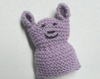 Pocket Bunny Toy, Plush Knit Bunny Rabbit, Desk Buddy, Lavender Purple