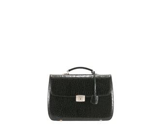 SALE Leather briefcase women NITA // deep green alligator, crocodile embossed (Italian calf skin) - FREE shipping, unisex