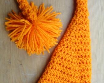 Newborn Elf Hat, Elf Hat, Newborn Photo Prop, Orange Hat, Boy Photo Prop, Neutral Baby Hat