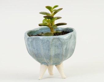 Turquoise Blue Pottery Planter Ceramic Planter ~ Ceramic Plant Pot Modern Planter Ceramic Bowl ~ Handmade Ceramics Tripod Planter Cactus Pot