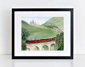 Hogwarts Express Watercolor Painting Art Print || harry potter inspired, train, hogwarts, art print, wall art, original watercolor painting