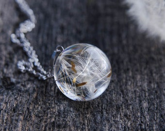 Dandelion Necklace - Resin Orb Globe Necklace - Make A Wish White Dream - Real Dandelion Seeds Jewelry