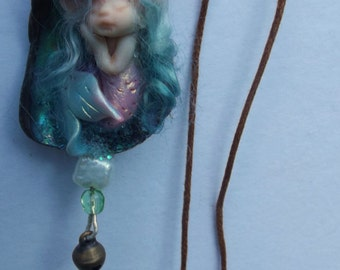 sweet tiny minature ooak  fairy fairie mermaid on paua shell necklace