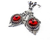 Gothic Earrings Red Swarovski Crystal Post Earrings Silver Earrings Victorian Gothic Jewelry