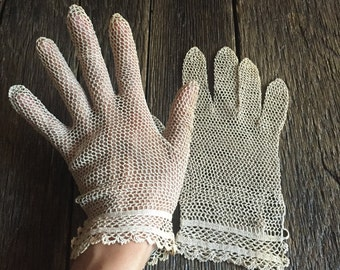 Vintage Crochet Fishnet Gloves Tan Fishnet Gloves Vintage Fishnet Gloves Fancy Gloves