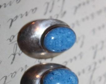Sterling & Rare BLUE Turquoise Pierced Stud Earrings