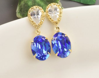 Swarovski Earrings - Sapphire Earrings - Royal Blue Earrings - Gold Crystal Teardrop Earrings - Bridesmaids Earrings - Bridesmaid Jewelry