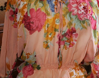 French Bohemian Country Rose Romantic peasant blouse upcycled