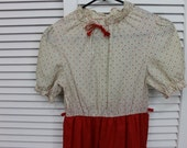 RESERVED Kaitlin Vintage Girls Dress 1970s Orange and White Lightweight 12 Girls