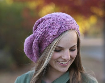 LOVELY  HAT - Custom Order - Hand Knitted Hat / Slouchy Hat / Chunky Hat / Flower Hat / Hand Knitted Beanie / Chunky Beanie / Tweed Hat