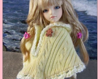 Cute Yellow Hooded Poncho for your Iplehouse KIDs, and Other Similar Sized Dolls .. OOAK