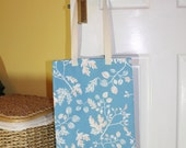 Shopping bag, tote bag, market tote, shopping tote, library bag - blue/white/orange with leaves and branches
