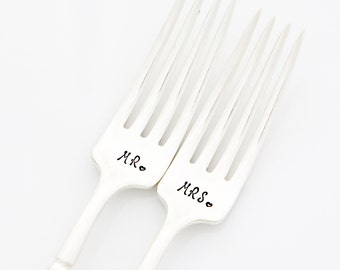 Mr and Mrs Wedding Forks. Hand Stamped Table Setting for unique engagement gift idea.