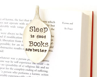Spoon Bookmark. Sleep is Good, Books are Better. Stamped Spoon Book Mark. Book Lover Gift Idea. Milk & Honey ® 2016 Design