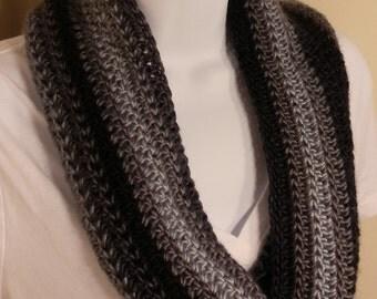 Black & Grey Cowl --  Monochromatic Infinity Scarf Winter Accessory READY TO SHIP