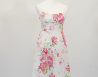 20% OFF SALE Pink Floral Dress, Retro Fit and Flare Dress, White and Pink Flower Dress, Summer Dress