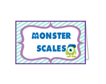 Monsters university food labels INSTANT DOWNLOAD, do it yourself printable food tents, monsters university decoration, monsters inc. party