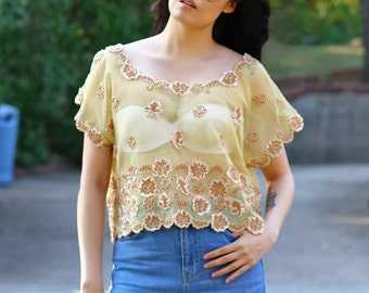 Vintage Boho Chic Lace Net Top with Floral Embellishments  - One Size Fits All