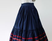 50s 60s Swing Skirt, Rockabilly, Patio Skirt, Circle Skirt, Rick Rack, Red White Blue