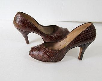 40s 50s Snakeskin Shoes Cobra Peep Toe Brown Pin Up High Heels Corliss