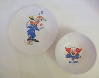 BOZO the CLOWN Childrens Bowl & Plate